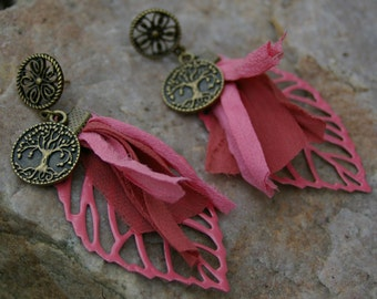 Bohemian, bronze and old earrings pink