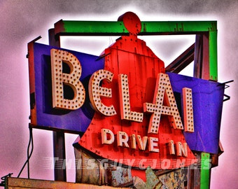 Abandoned Bel Air Drive In Sign on Route 66 in Mitchell Illinois