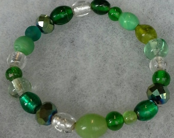 Handmade Green Glass Beads Bracelet