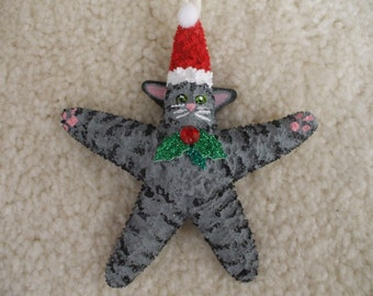 Christmas Cat, Starfish Ornament, Grey Tabby Cat, Christmas Ornament, Stocking Stuffer, Ornament Exchange, Holiday Gifts