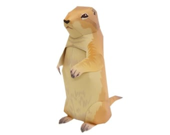 Paper Toy Prairie Dog for self-assembly, Printable A4 PDF and JPEG, Instant Download.