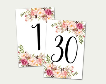Wedding Table Numbers, Printable Table Numbers, Numbers 1-30, Boho Chic Wedding Decor, Floral Table Numbers, 4x6, Banquet Table Numbers
