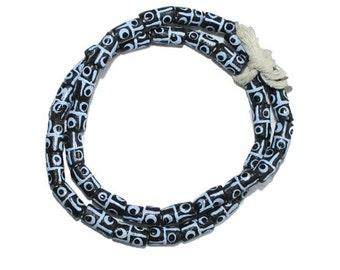 Small African Beads, Krobo Ghana Recycled Glass Tubes, Charcoal, 14 mm Handmade, One Strand