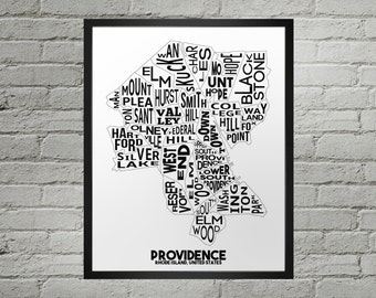 Providence Rhode Island Neighborhood Typography City Map Print