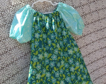 Green and Blue  Ruffled Peasant Dress-Size 6