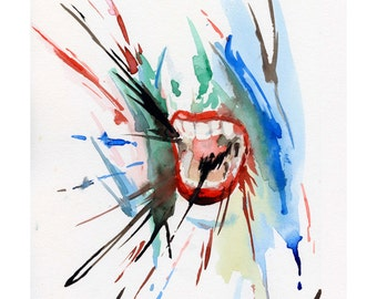 You're upset about nothing - Watercolour Expressionism Art Print