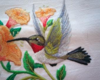 Hummingbird of Joy Embroidered Flour Sack Towel, Embroidered Hummingbird Towel, Embroidered Joy Towel