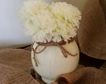 Shabby Chic hand painted globe vase with twine embellishment