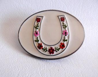 1 inch 2.5 cm Small Western Trophy Belt Buckle, White Enamel, Horseshoe with Flowers, Boho Southwestern Country Western Wear, ID 466228478