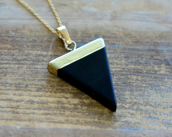 Triangle Black Agate Necklace - Pendant in 24K Plating w/ Stainless Steel Chain - Flag Gemstone Jewelry  (R010)