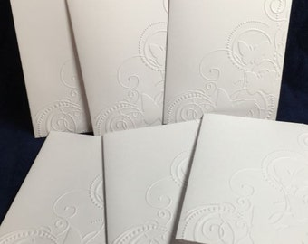 Set of 6 Embossed Butterfly Cards