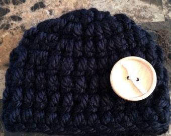 Black newborn baby hat, newborn hat, baby hat, hat, newborn, baby, crocheted hat, crochet hat, crochet baby hat, crochet, black