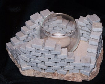 stone mosaic candle holder with marble base