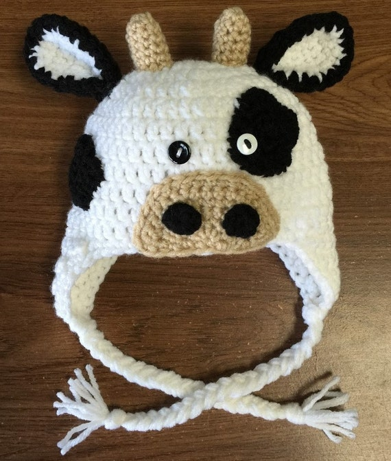 Free Crochet Pattern For Cow Hat : Crochet Cow Hat Crochet Cow Earflap Hat Crochet Animal Hat