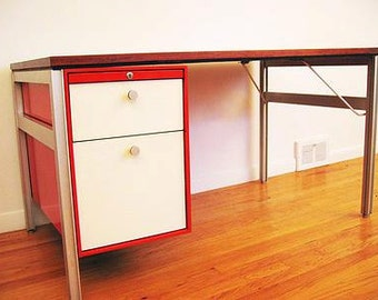 Danish Modern,Eames era desk,Rosewood with aluminum frame