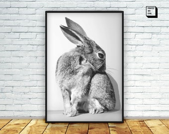 Rabbit print, bunny print, woodland animal, rabbit art, black and white, rabbit printable, bunny poster, bunny printable, rabbit wall art