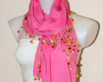 Soft pink scarf Oya crochet scarf Cotton pink scarf Women accessories Summer accessories Gift for her