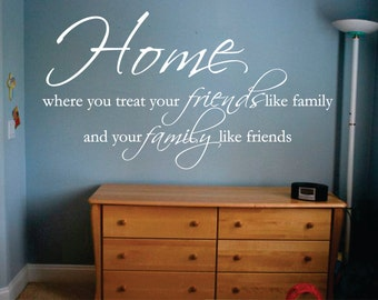 Wall Decor vinyl sticker / wall decal / wall sticker / vinyl decal inspirational quote - Home, where you treat your friends like family...