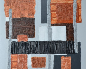 Abstract Mixed Media, Acrylic Painting, Geometric and Industrial Art, Canvas Painting, Texture Art, Geometric Wall Art, Fine Art Mixed Media.