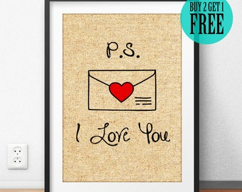 P.S. I Love You, Wall Decor, Love letter, Romantic, Burlap Print, Valentine Gift, Boyfriend Gift, Girlfriend Gift, Gift for Couple, SD65