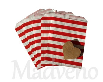 Lot of 10 bags red horizontal striped paper