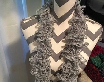 Handmade Crochet Ruffle Scarf