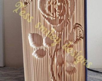 beautiful rose rosebud butterfly cut and fold book fold bookfolding design