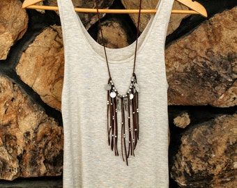 Boho Deerskin Leather Fringe Necklace, Statement Necklace, Native, long necklace, handmade, gifts for her, antique silver