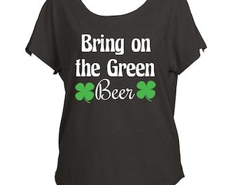 St Patricks Day Green Beer Shamrock Green Drapey Shirt Tri-Blend Dolman Women's Yoga Workout Shirt Fashion Off Shoulder
