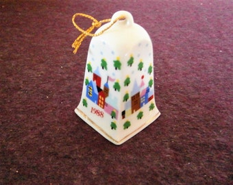 Bell Porcelain Vintage Ornament Small Houses 1988 LVC Lillian Vernon Blue Red Green mothers day