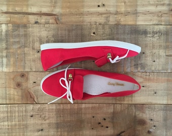 Womens Penny Loafers / Vintage Red Flats / Womens Loafers / Red Loafers / Red Shoes