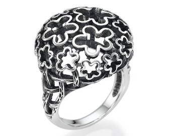 Sterling Silver Ring Flower Addiction