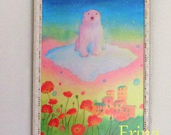 Polar bear and poppies - A4 Print