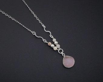 """Druzy Quartz Pendant, Sterling Silver Necklace, Pink Pendant, 19"""" Necklace"""