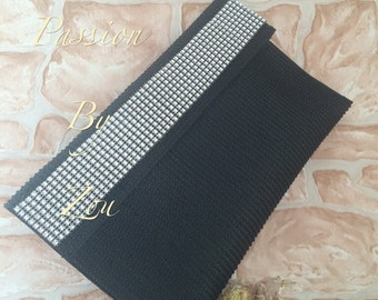 Cover of evening, black pouch, rhinestones