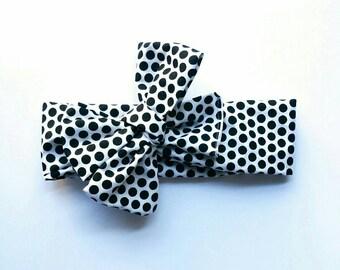 Baby girl Headwrap Headband Baby Shower Idea Black and White Polka Dot Headwraps for Girls