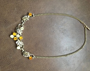 1950s 60s Vintage Necklace amber Glass Stones