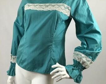 Vintage 1970s Cotton Lace Bell Sleeve Top Blouse Hippy Blue 8