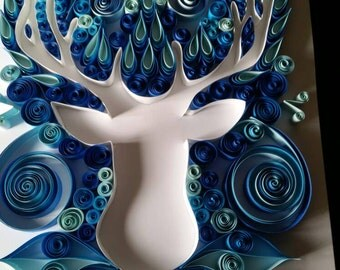 Quilled winter stag paper art.