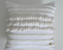 Luxury handwoven cushion, luxury pillow, cushion cover, pillow cover, interior decoration, textured cushion, white cushion