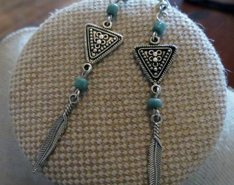 Long Boho Earrings, Turquoise Earrings, Aztec Earrings, Silver Earrings, Tribal Earrings