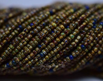 10/0 Aged Seed Beads, Picasso Striped Mix, Czech Glass Seed Beads, Two 20inch Strand (Approx 600-620 Beads)