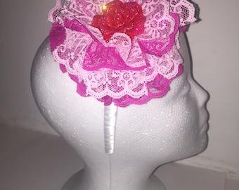 Giant Rose Headband (Fuchsia & Pink)