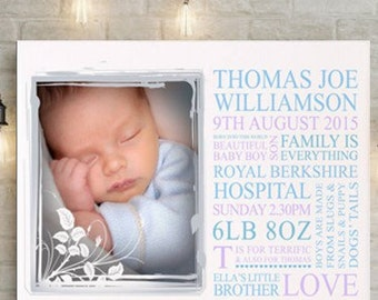 Personalised baby birth announcement canvas
