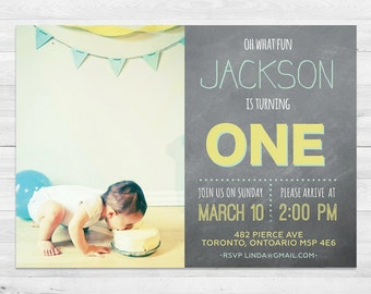First Birthday Invitation Boy, Blue And Yellow Birthday Invitation, Photo Birthday Invitation, Chalkboard, First Birthday