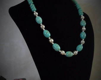 SALE !!! Turquoise and Silver Necklace w/ Egg Shape and Rondelle Beads