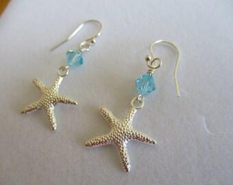 starfish ocean earrings, silver starfish beach earrings, crystal starfish earrings, nautical earrings, beach wedding bridesmaids gift