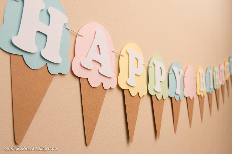 ice cream birthday banner name banner ice cream cone ice