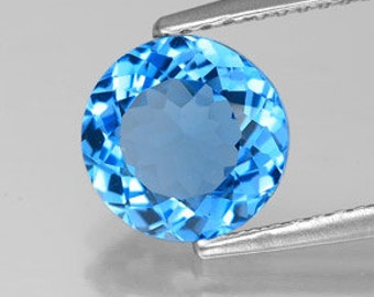 Round Faceted Genuine (Natural) Swiss Blue Topaz 3mm to 9mm. 811-811
