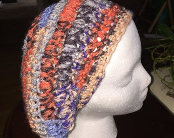 Crocheted multi-color slouch hat
